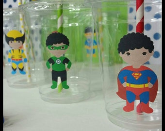 12 African American Superhero Themed Party Cups with Striped Straws and Lids!, African American Marvel Hero Plastic Party Cups