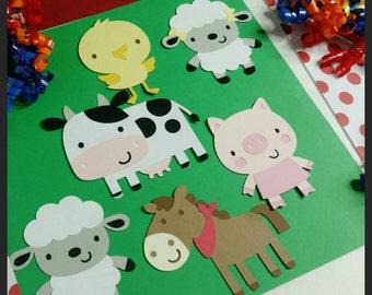 6 (4 inch) Barnyard Animal Cutouts, Farm Animal Die Cuts