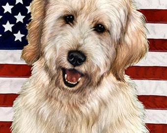 Goldendoodle White - Tamara Burnett Patriotic II Flag: 28 x 40 inches