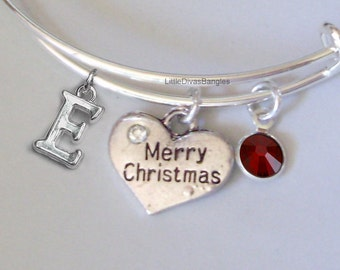 Merry CHRISTMAS Bangle W Birthstone Initial Adjustable BANGLE -Personalize Your Expandable Bracelet - Gift For Her - Under 20- USA W1