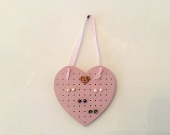 Shabby Chic Stud Earring Holder Organizer Pink