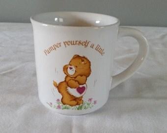 "Vintage 1983 Care Bear Tenderheart Bear ""Pamper Yourself A LIttle"" American Greetings Stoneware Mug"