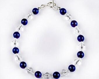 Light Bracelet - Ultra - bracelet of Rock Crystal and Lapis Lazuli