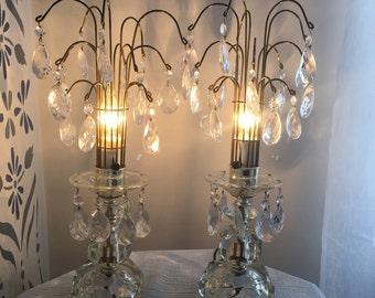 Vintage Hollywood Regency chandelier-style table lamps - Set of 2