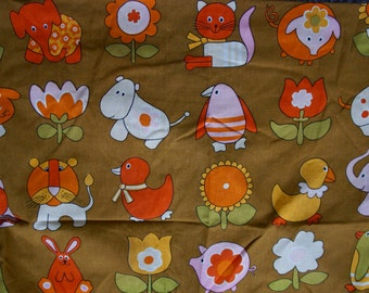 Vintage 1960s Animal Gathered Heading Curtains Textile Impressions Squiggle Pattern Fabric By Freida Clowes A Screen Print In VAT Colours
