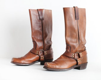 Vintage Size 11 Men's Brown Leather Harness Boots