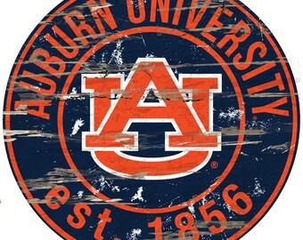 "NCAA Auburn University  Round Distressed Established Wood Sign 24"" Diameter"