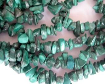 Malachite Chips, Gemstone Chips, Malachite Stone, 34 Inch Strand, Approx 5mm To 7mm