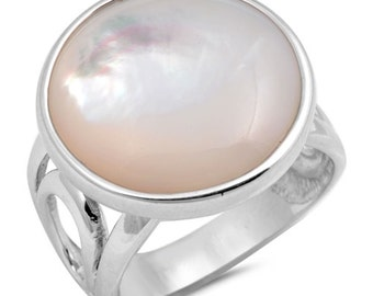 Mohter Of Pearl Sterling Silver Ring