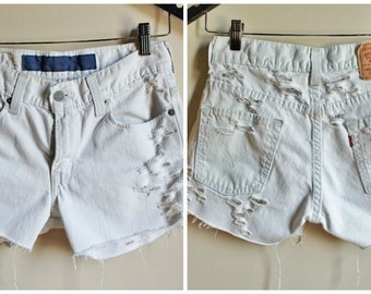 Women's Levi's Faded, Frayed and Bleached Distressed White High Waisted Denim Shorts