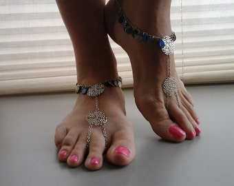 Bare foot sandals silver/blue
