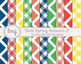 Gingham Digital Paper, Colorful Digital Paper, Spring Colors, Digital Background, Stripe Pattern, Digital Scrapbook, Instant Download