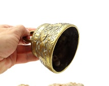 Vintage Brass Bell - Engraved Sanctuary Bell - Bell with Winged Animals - Leo - Pelicanus - Aquila - Agnus - Religious Bell - Sanctus Bell
