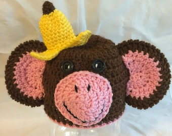 Newborn Monkey Hat, Crochet Monkey Hat, Messy Monkey Beanie, Monkey hat, Banana Hat, Halloween Costume