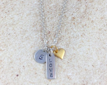 Love Necklace Sterling Silver Necklace Dainty Simple Silver Necklace Minimalist Valentine's Gift Personalized Initial Love Charm Gold Heart
