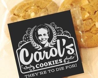 Carol's Cookies Party Favor Cookies, 12 Cookie Favor Bags, The Walking Dead Cookie Bags, Party Favors, TWD