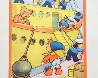 1959 Vintage Noddy Print by Peter Wienk from Noddy Goes To Sea, Enid Blyton, Children's, Toytown, Teddy, Ship, Sailors