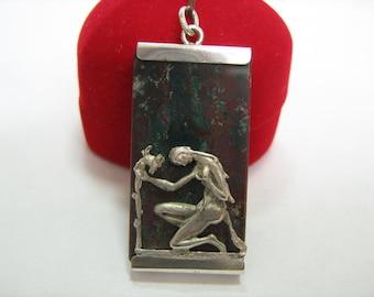VIRGO Zodiac Pendant Natural Stone Amulet Jasper 800 Silver DETAILED