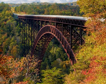 New River Autumn Reflections - Loose Print.  Gorge Bridge West Virginia Beckley Fall Colors Clouds