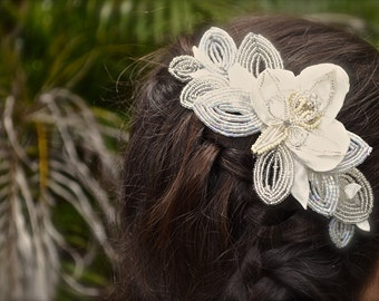Swarovski french beaded petals hairpiece, silver hairpiece, ivory satin, hair comb, bridal hair comb, wedding hairpiece, bride headwear,