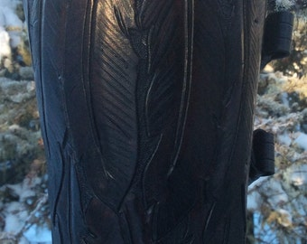 Handmade Archery Arm Guard-Raven Feather Design