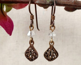 Dainty Brass Filigree Drop Earrings in Crystal