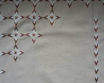 Canvas needlework, Vintage tablecloth, Retro table runner,