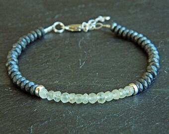 Prehnite bracelet,Hematite bracelet,Gemstone bracelet,Sterling silver bracelet,Tiny silver bead bracelet, Silver beaded bracelet,GE057