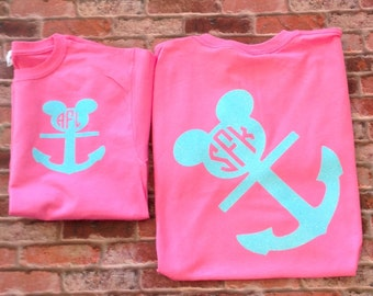 Disney Cruise Shirt - Mickey Mouse head Anchor  - Disney Cruise- Christmas- Front and Back - U pick the colors. Family Cruise shirts