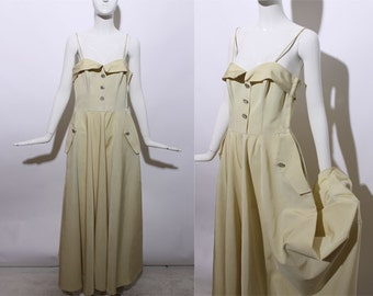 50s dramatic yellow ball gown formal dress full skirt rhinestone pastel old hollywood prom party chic circle skirt sleeveless midcentury S M