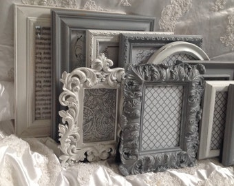 Shabby Chic Picture Frame Set Ornate Mix Custom Colors And Sizes Hand Painted Vintage Frames Upcycled