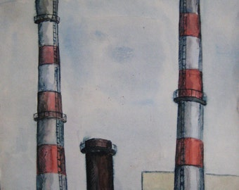 watercolor drawing master/industrial landscape/vintage 80s