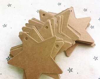50 Kraft Tags + Brown Twine 6cm Star /Gift Party Favour Wedding / Bomboniere Card/ Paper Packaging