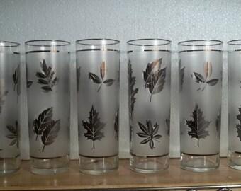 Vintage Libbey Platinum Leaf Tom Collins Glasses, Set of 6, Glassware, Barware