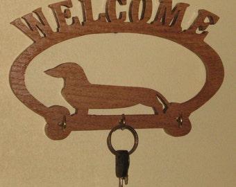 Handmade Wood Dachshund Oval Welcome key Hanger