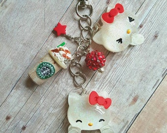 Hello Kitty Planner Charm, Hello Kitty Purse Charm, Christmas Planner Charm, Christmas Purse Charm, Holiday Planner Charm