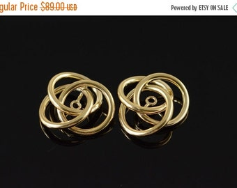 ON SALE 14K Interlocking Circles Earring Jackets Yellow Gold