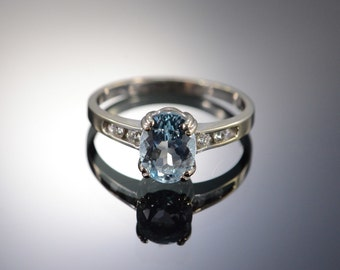 14K 1.27 CTW Aquamarine & Diamond Ring - Size 6 / White Gold - EM142