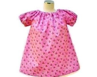 "Baby girls peasant dress,  Pink dress,  size 0-3 months, ""READY TO SHIP"""