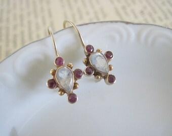 Sterling Silver Garnet Earrings, Sterling Silver Drop Earrings, Gold Over Sterling Silver Garnet Earrings, Small Earrings