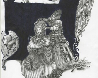 Print of Robot Hairdresser Drawing