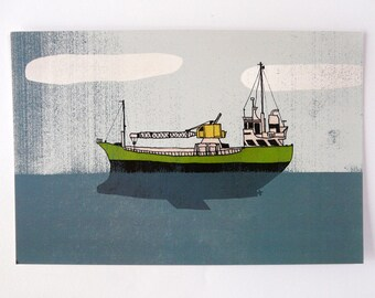 Postcard   BOAT boat crane. digital printing   quentinriviere