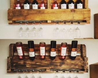 Rustic wine rack, Reclaimed pallet wood, Wine Rack, Unique wine rack, Glass wine rack, Pallet furniture, Wall wine rack, Reclaimed pallet