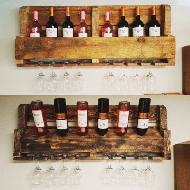 Rustic wine rack reclaimed pallet wood wine rack unique - Que faire avec des palettes bois ...