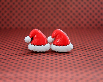 Christmas Santa Claus hats plugs for gauged ears 10mm 00G stretched red white