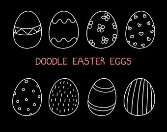Hand Drawn Doodle Easter Egg Clip Art Set in White - Personal and Commercial Use, Instant Download