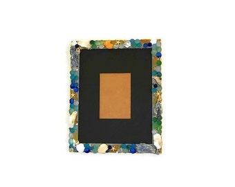 OOAK Sea Glass Picture Frame ~ Ocean Decor ~ Nautical Decor ~ Ocean Frame ~ Mosaic Picture Frame ~ Home Decor ~ Beach Gift ~ Beach Art