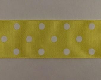 1.5 Inch Lemon Yellow and white dippy dots ribbon