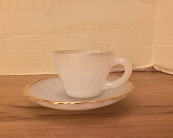 Vintage Childs Milk Glass Cup & Saucer