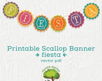 Printable Digital Fiesta Banner (Scallop)